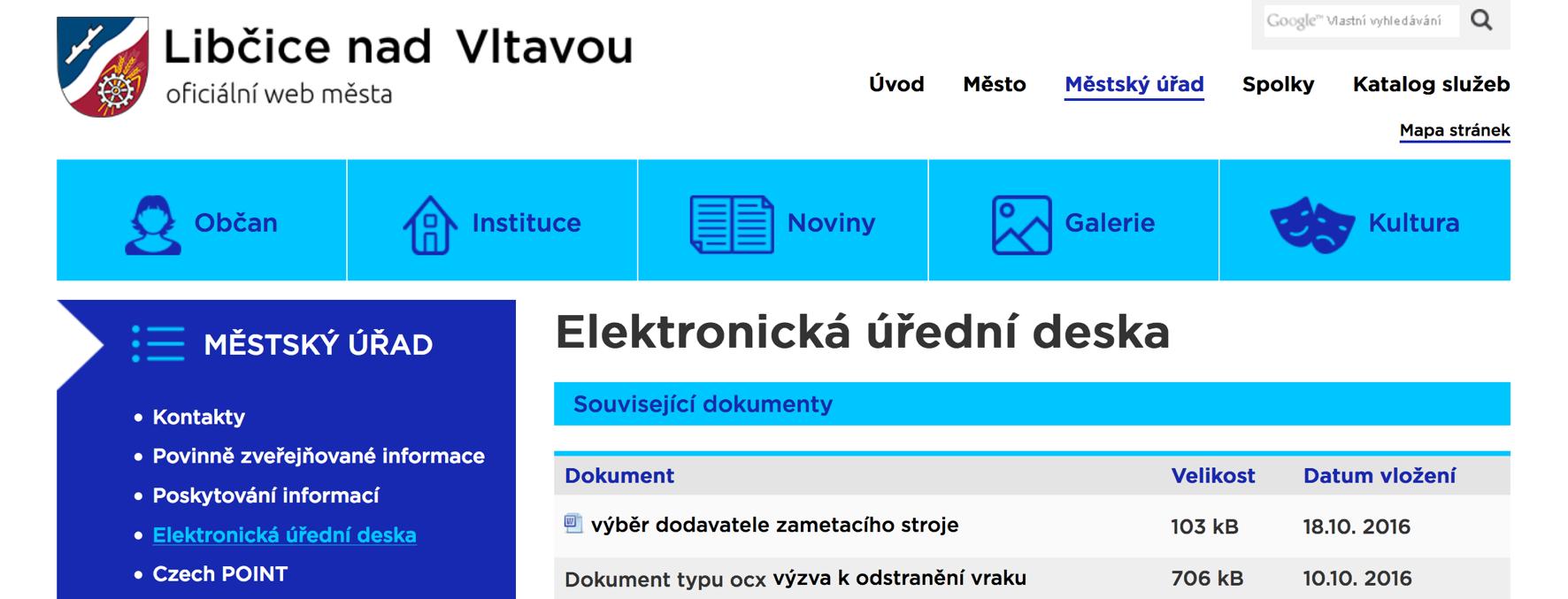 Elektronická úřední deska města