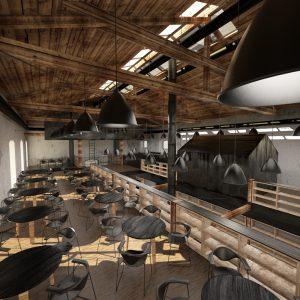 Vizualizace prostoru budoucí restaurace, Ateliér Hoffman