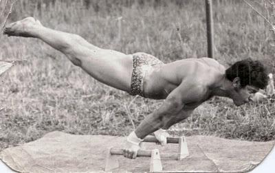 Mladý gymnasta na jedné ze svých originálních cvičebních pomůcek Převzato z webu http://gymnastikalibcice.blogspot.cz/